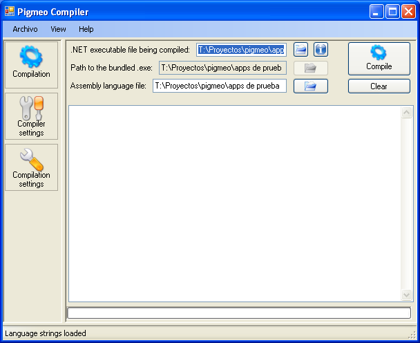 An early version of Pigmeo Compiler WinForms GUI